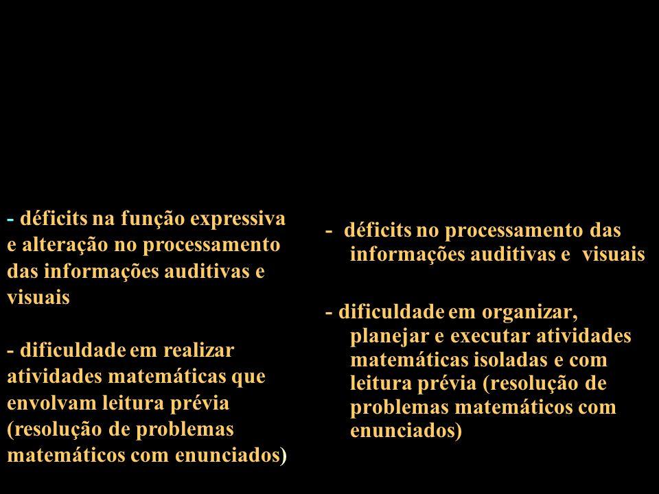 - déficits na função expressiva e alteração no processamento das informações auditivas e visuais