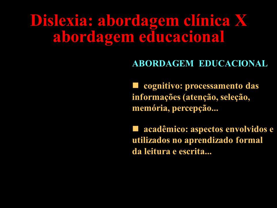 Dislexia: abordagem clínica X abordagem educacional