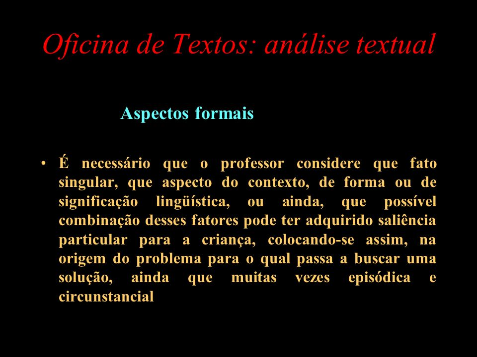 Oficina de Textos: análise textual