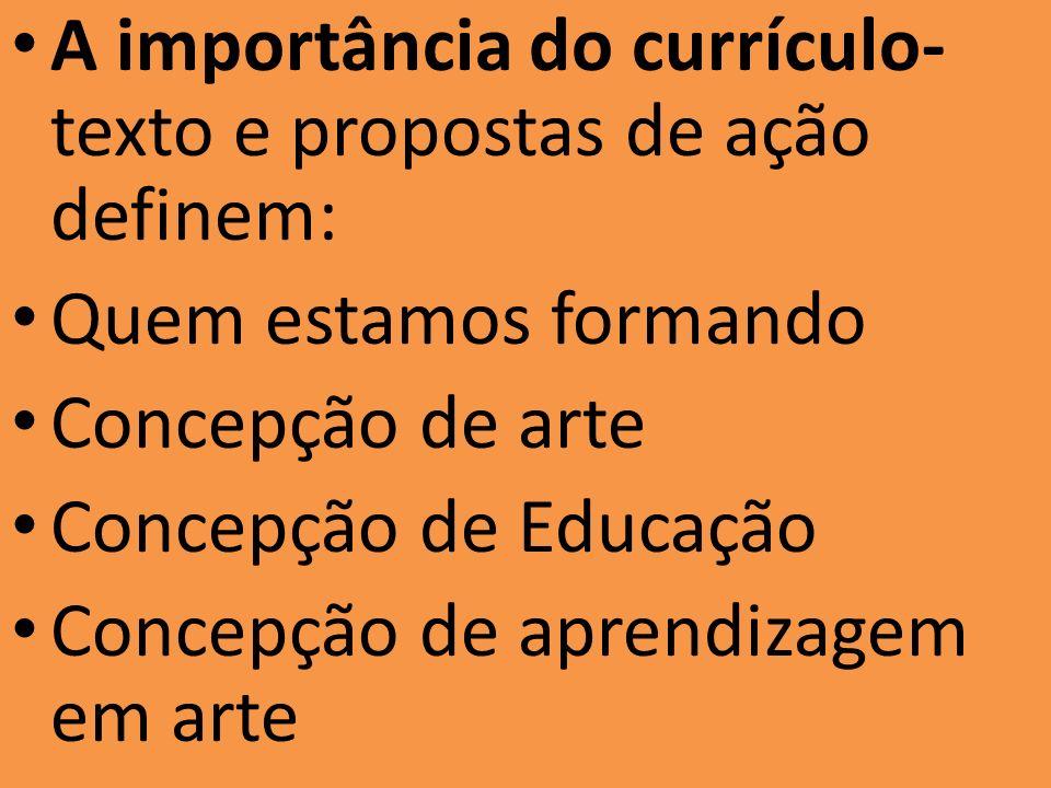 A importância do currículo- texto e propostas de ação definem: