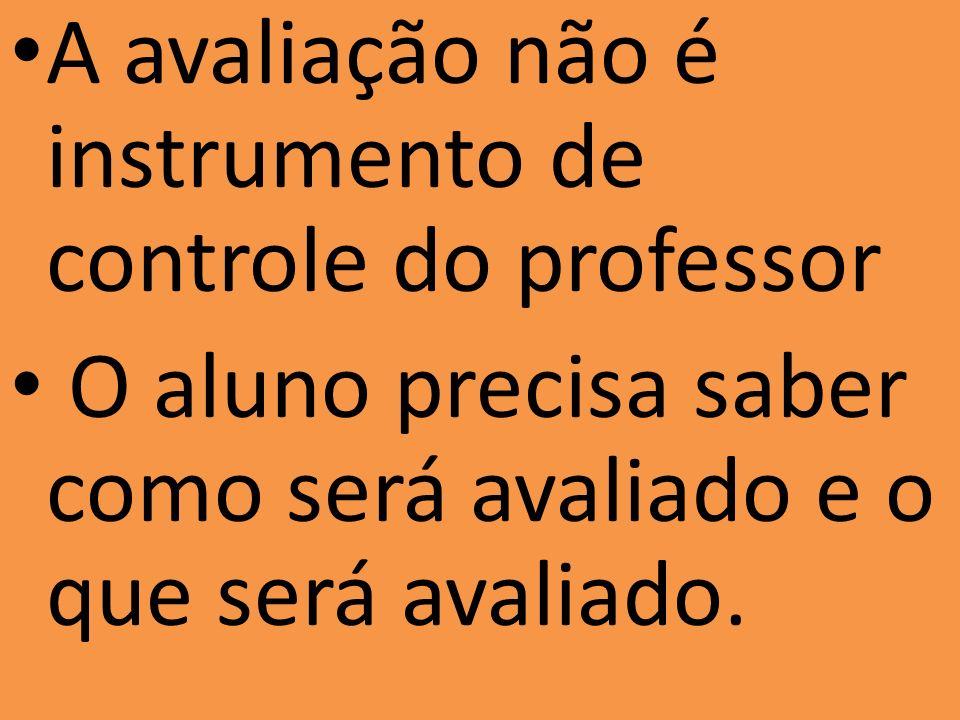 A avaliação não é instrumento de controle do professor