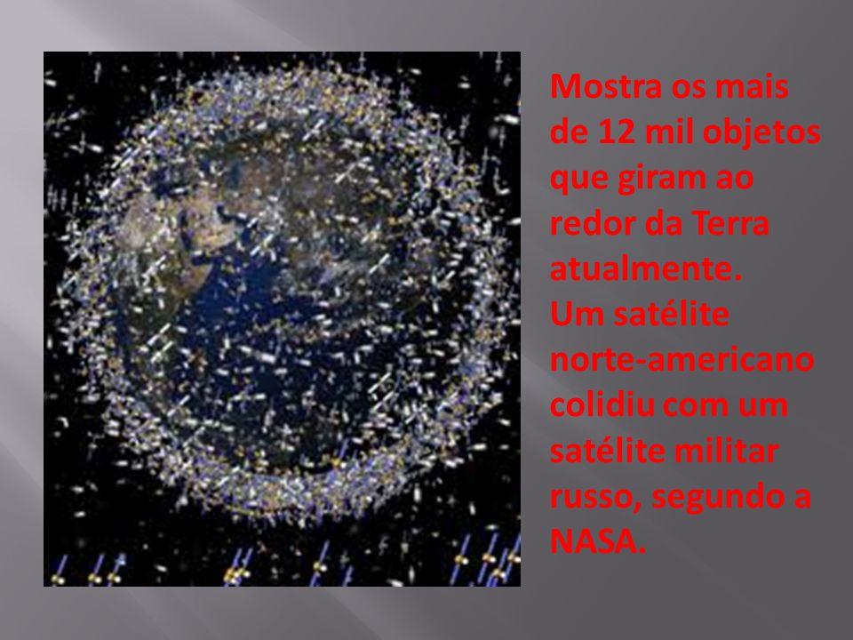 Mostra os mais de 12 mil objetos que giram ao redor da Terra atualmente.