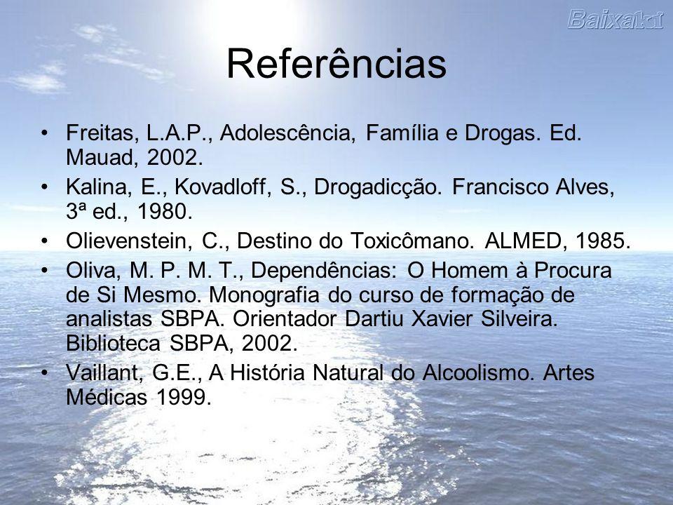 Referências Freitas, L.A.P., Adolescência, Família e Drogas. Ed. Mauad, 2002. Kalina, E., Kovadloff, S., Drogadicção. Francisco Alves, 3ª ed., 1980.