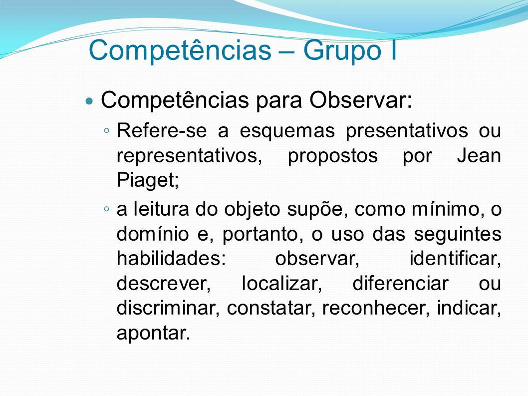 Competências – Grupo I Competências para Observar: