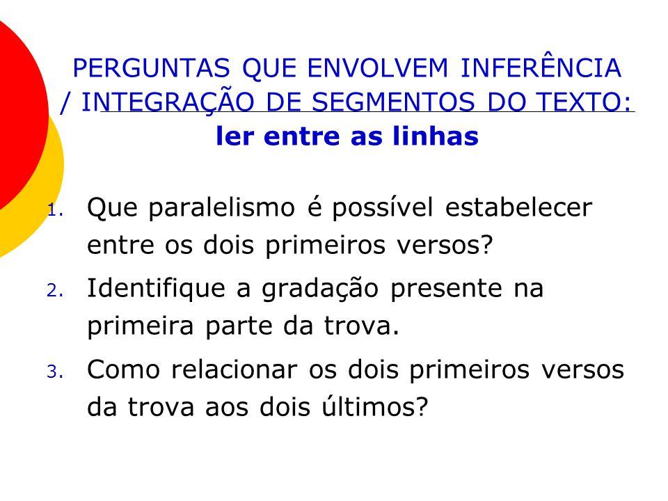 PERGUNTAS QUE ENVOLVEM INFERÊNCIA / INTEGRAÇÃO DE SEGMENTOS DO TEXTO: