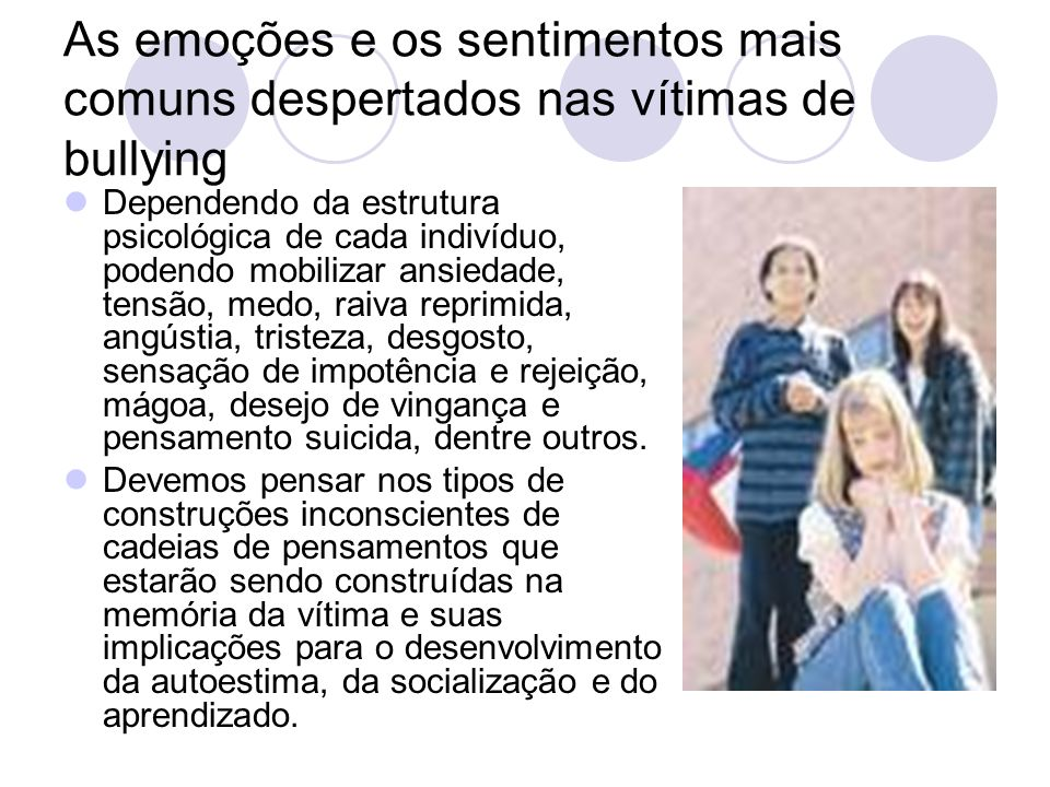 As emoções e os sentimentos mais comuns despertados nas vítimas de bullying