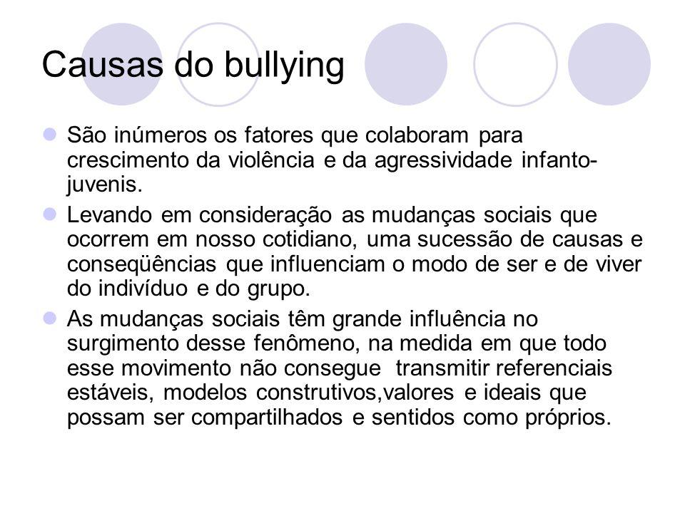 Causas do bullying São inúmeros os fatores que colaboram para crescimento da violência e da agressividade infanto-juvenis.