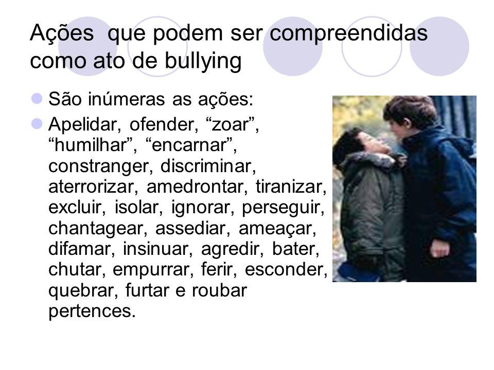 Ações que podem ser compreendidas como ato de bullying
