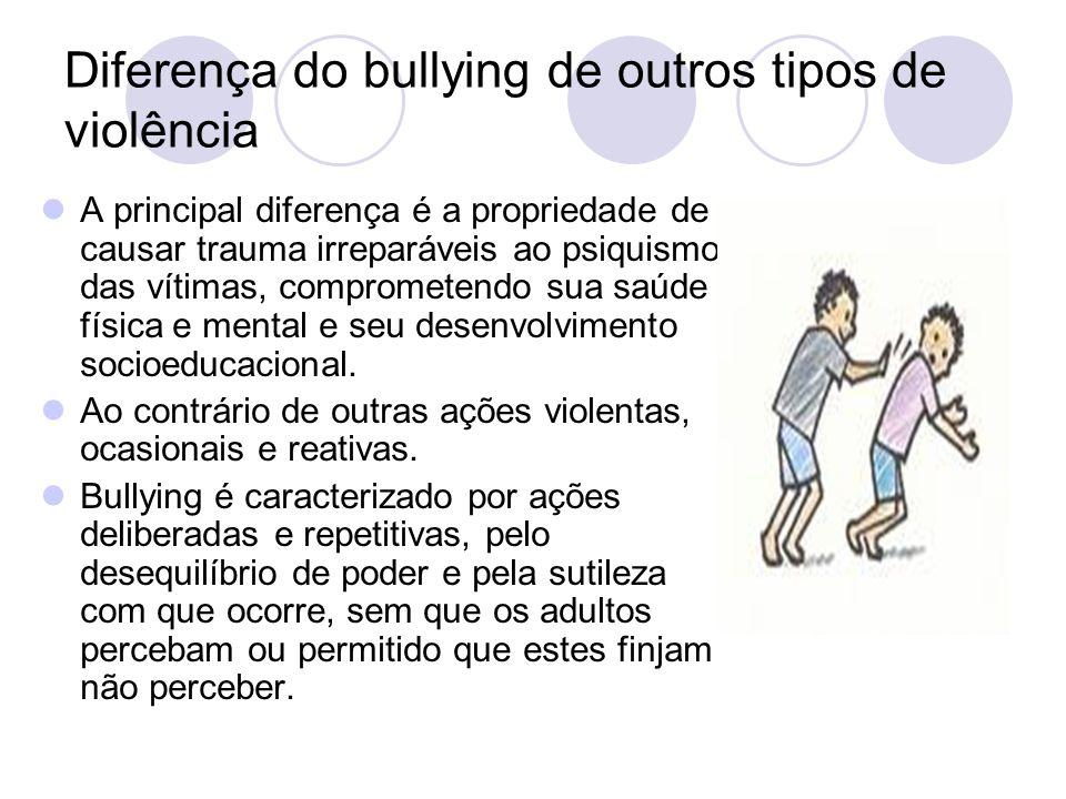 Diferença do bullying de outros tipos de violência