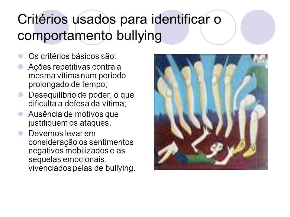 Critérios usados para identificar o comportamento bullying