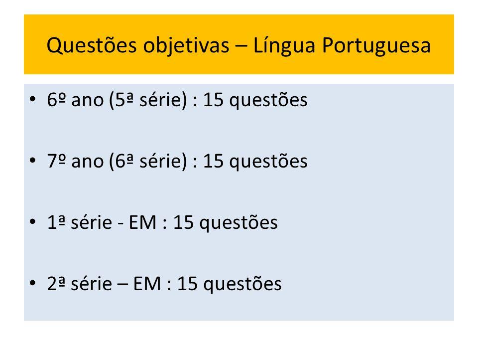 Questões objetivas – Língua Portuguesa