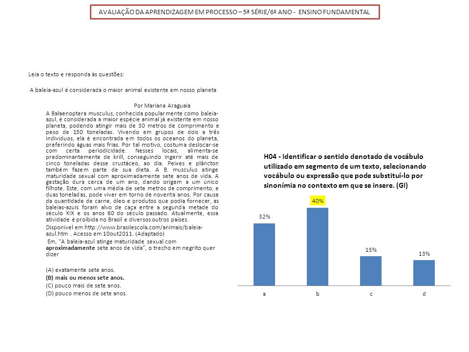 AVALIAÇÃO DA APRENDIZAGEM EM PROCESSO – 5ª SÉRIE/6º ANO - ENSINO FUNDAMENTAL