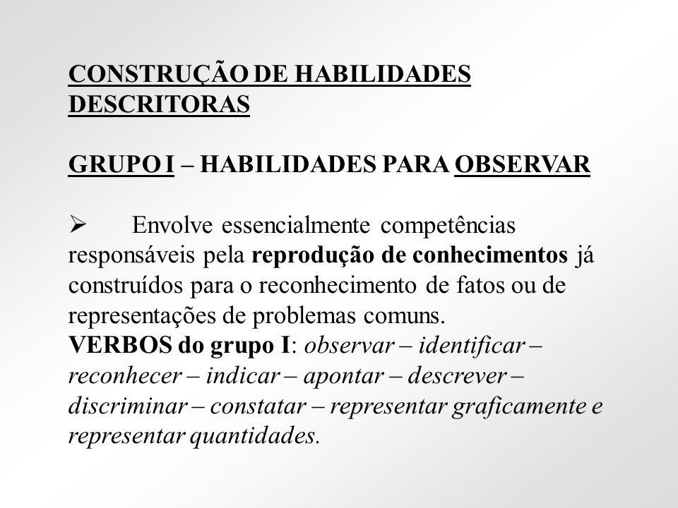 CONSTRUÇÃO DE HABILIDADES DESCRITORAS