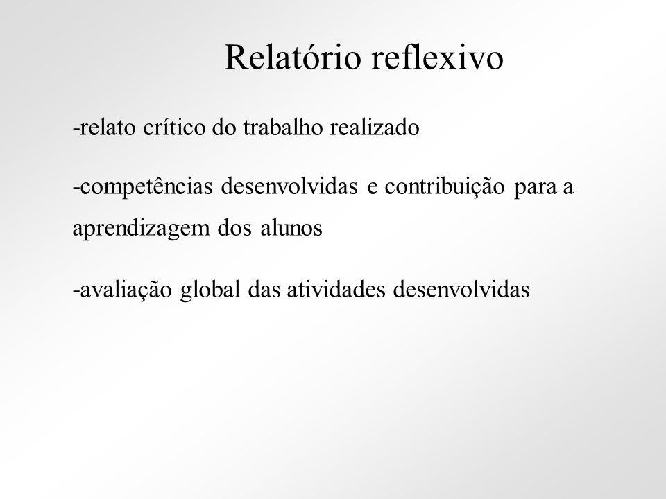 Relatório reflexivo -relato crítico do trabalho realizado. -competências desenvolvidas e contribuição para a aprendizagem dos alunos.