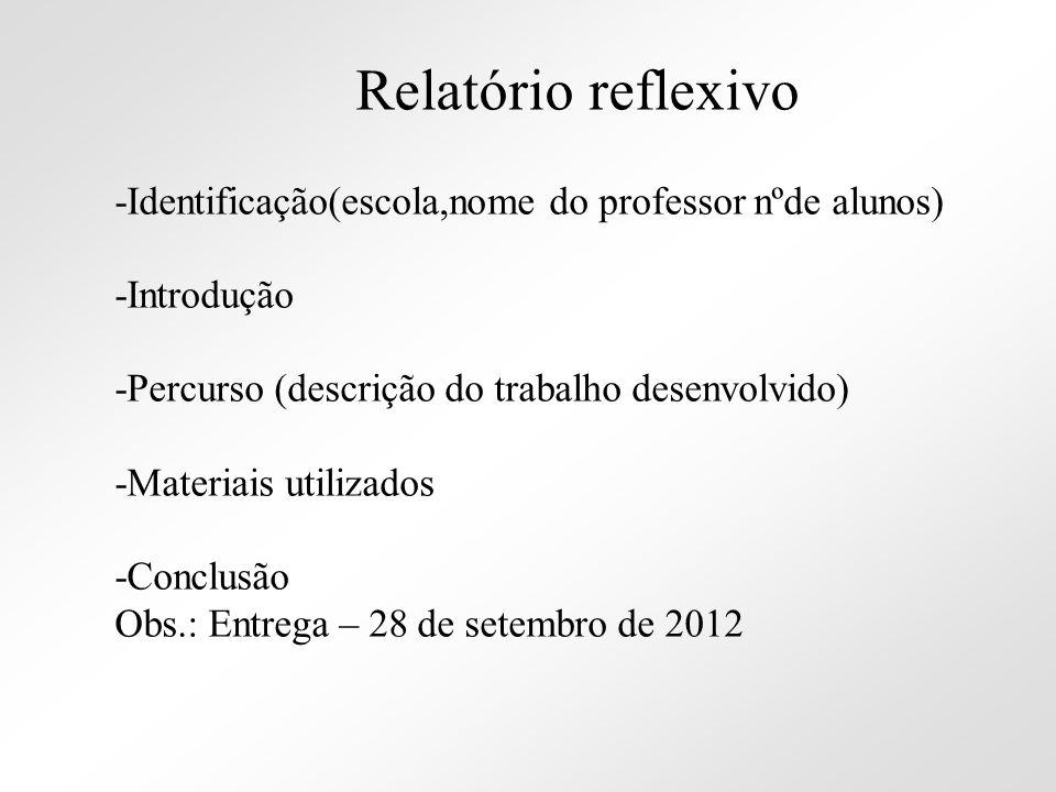 Relatório reflexivo -Identificação(escola,nome do professor nºde alunos) -Introdução. -Percurso (descrição do trabalho desenvolvido)