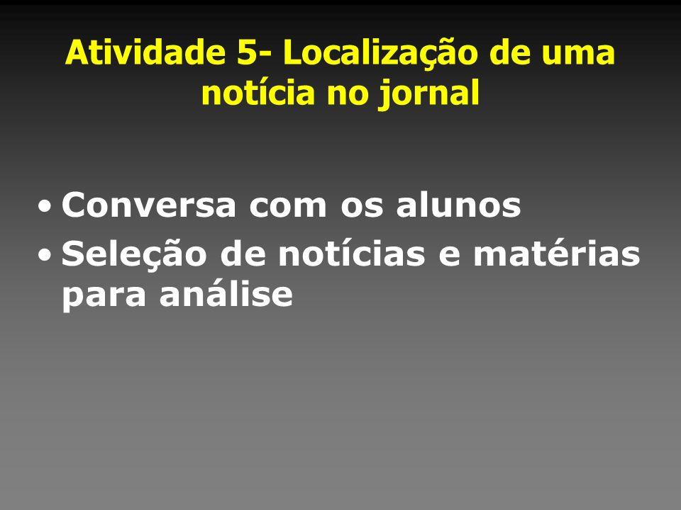 Atividade 5- Localização de uma notícia no jornal