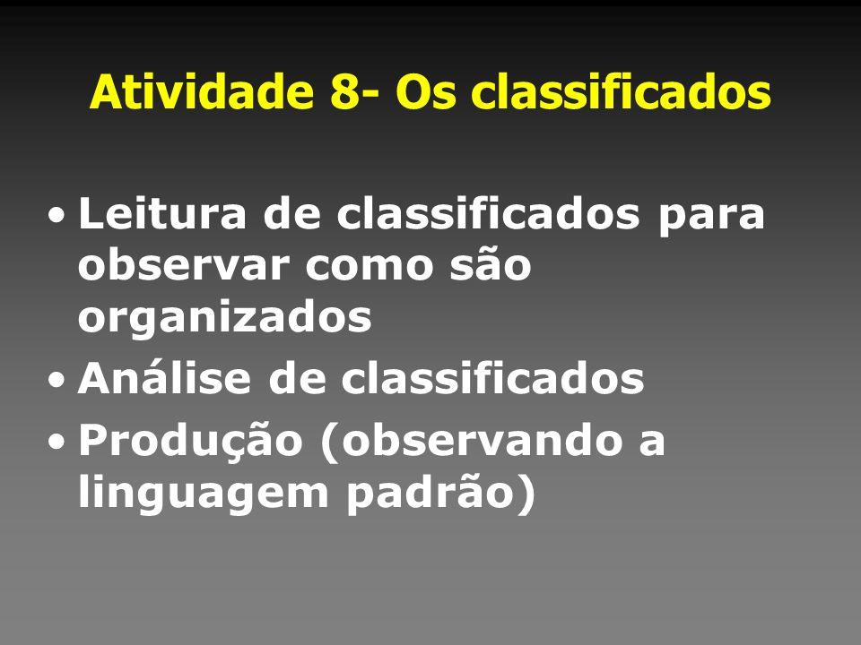 Atividade 8- Os classificados