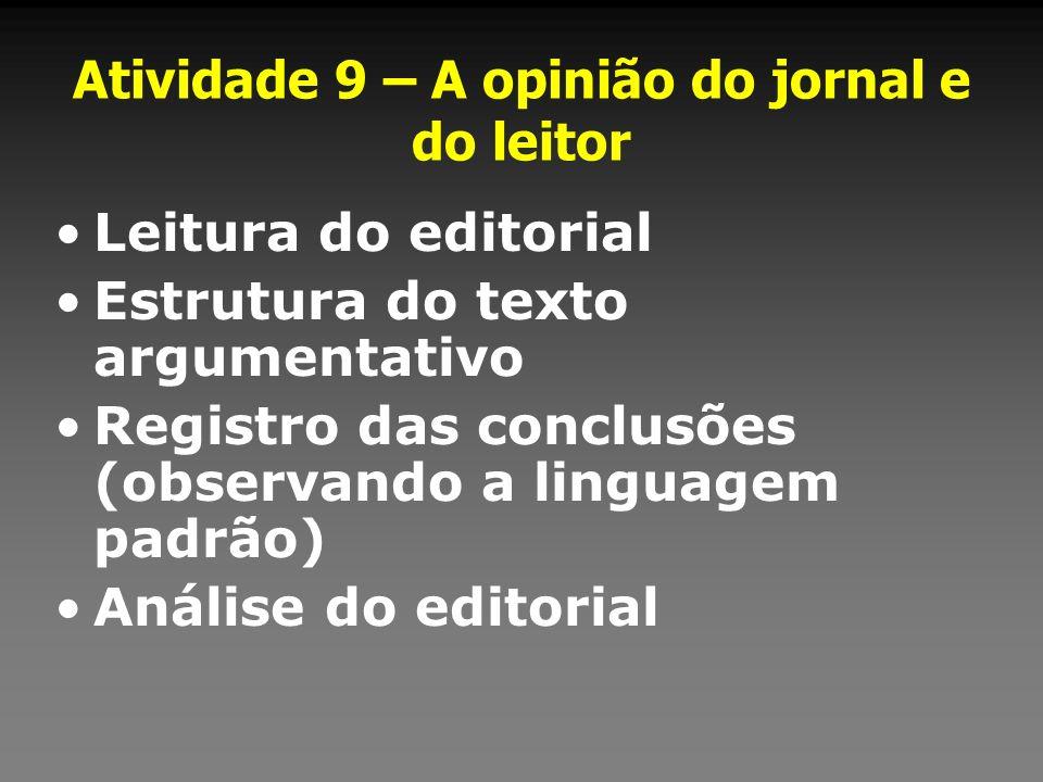 Atividade 9 – A opinião do jornal e do leitor