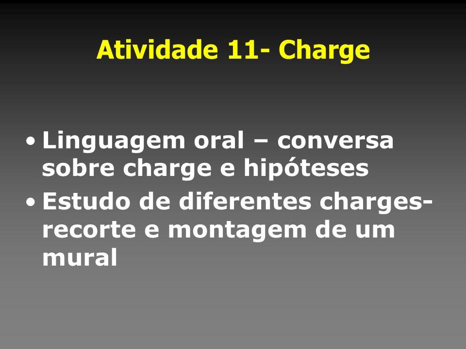 Atividade 11- ChargeLinguagem oral – conversa sobre charge e hipóteses.