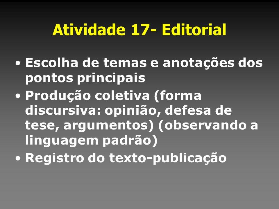 Atividade 17- Editorial Escolha de temas e anotações dos pontos principais.