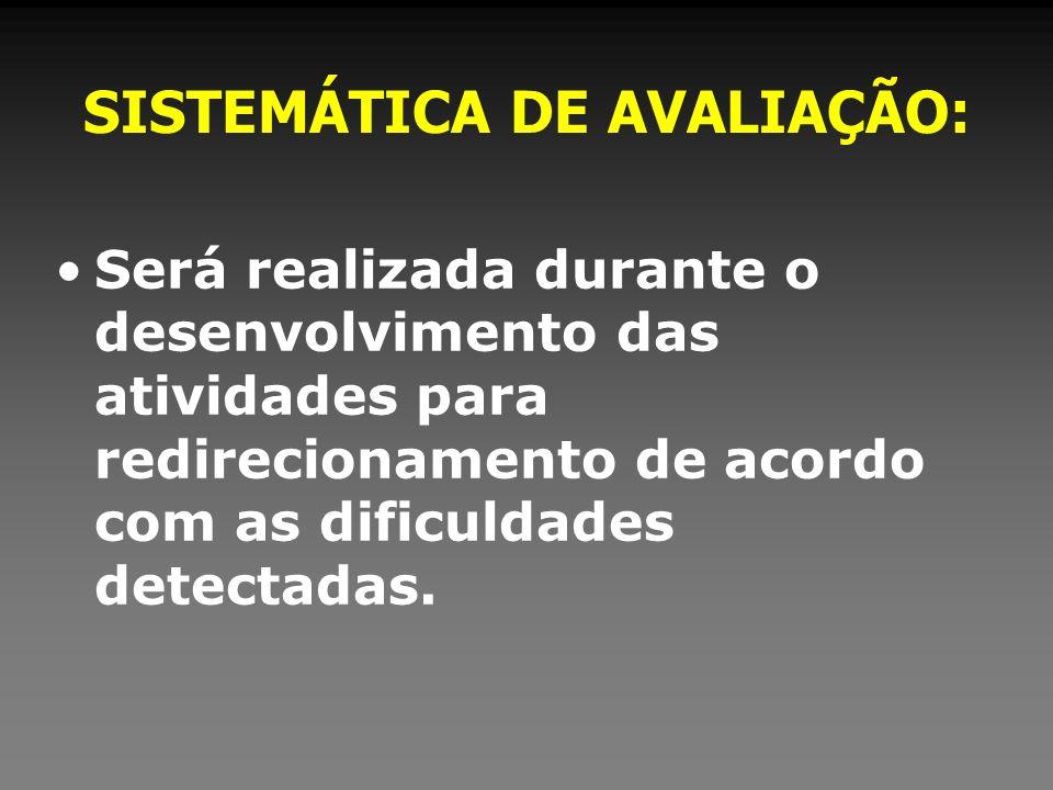 SISTEMÁTICA DE AVALIAÇÃO: