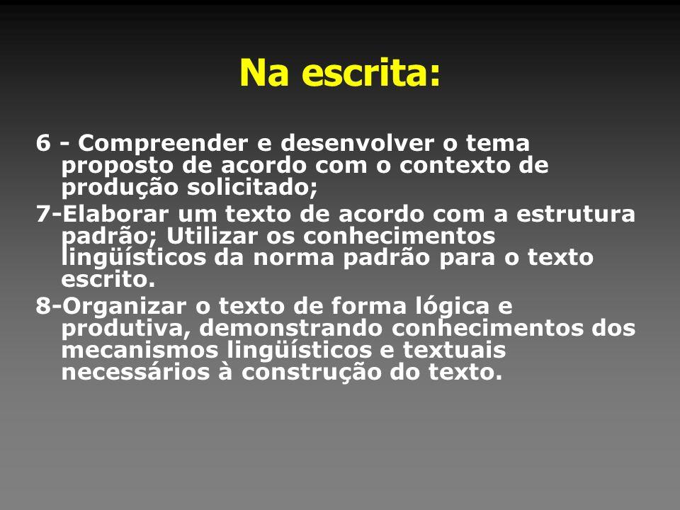 Na escrita: 6 - Compreender e desenvolver o tema proposto de acordo com o contexto de produção solicitado;