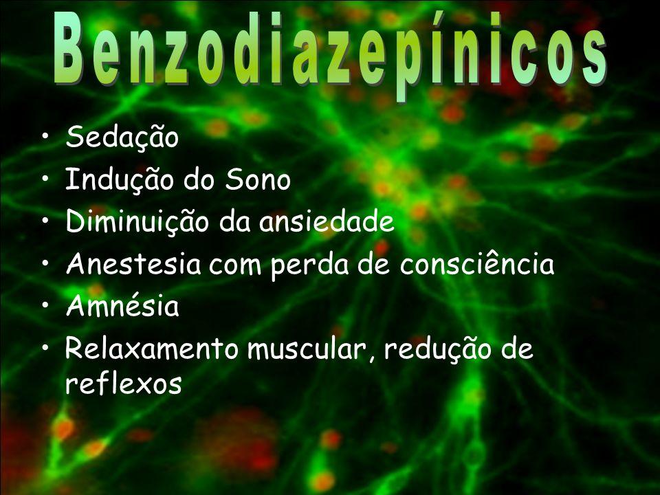 Benzodiazepínicos Sedação Indução do Sono Diminuição da ansiedade