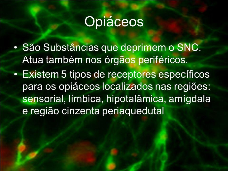 Opiáceos São Substâncias que deprimem o SNC. Atua também nos órgãos periféricos.