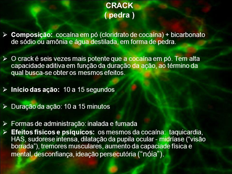 CRACK ( pedra )Composição: cocaína em pó (cloridrato de cocaína) + bicarbonato de sódio ou amônia e água destilada, em forma de pedra.