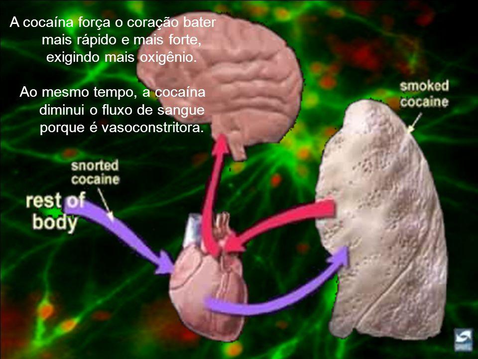 A cocaína força o coração bater mais rápido e mais forte, exigindo mais oxigênio.