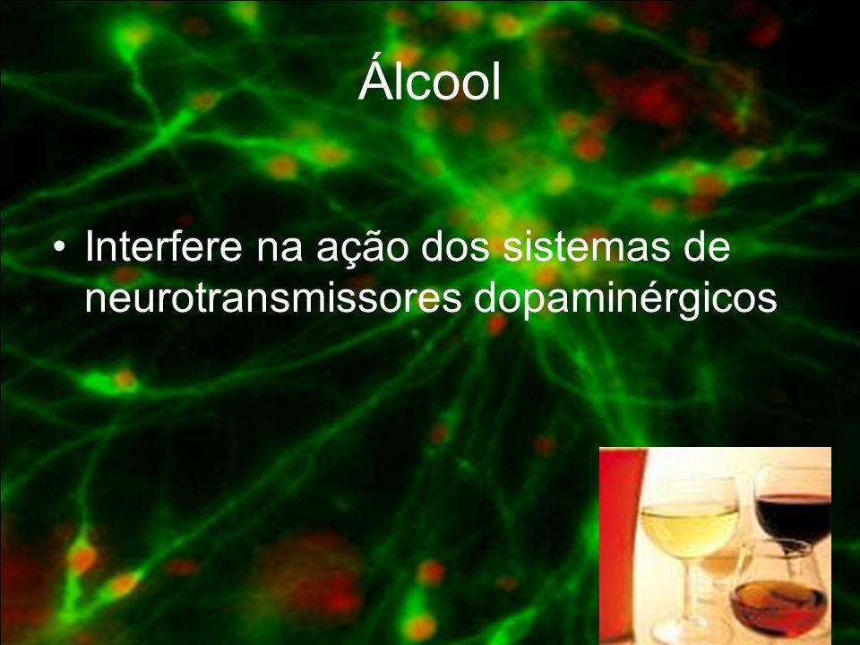 Álcool Interfere na ação dos sistemas de neurotransmissores dopaminérgicos