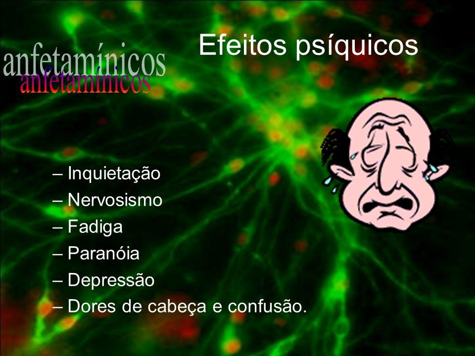 Efeitos psíquicos anfetamínicos Inquietação Nervosismo Fadiga Paranóia