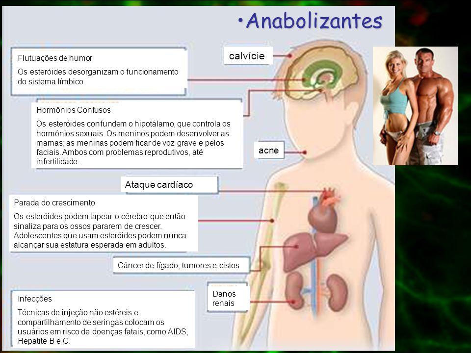 Anabolizantes calvície acne Ataque cardíaco Flutuações de humor