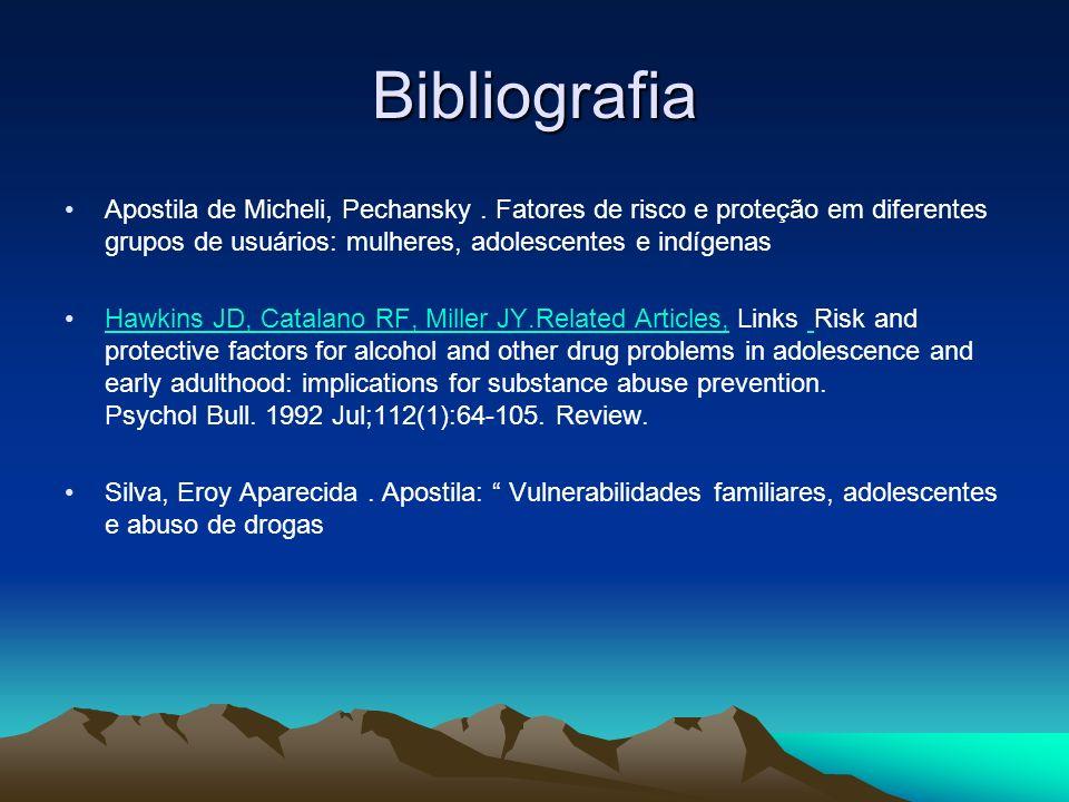 Bibliografia Apostila de Micheli, Pechansky . Fatores de risco e proteção em diferentes grupos de usuários: mulheres, adolescentes e indígenas.