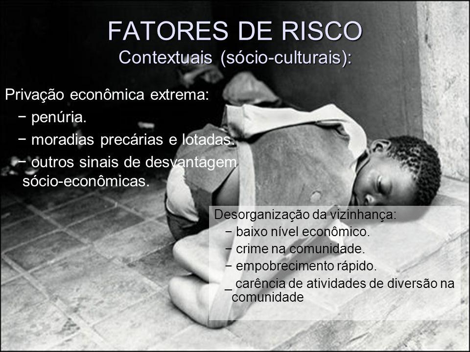 FATORES DE RISCO Contextuais (sócio-culturais):