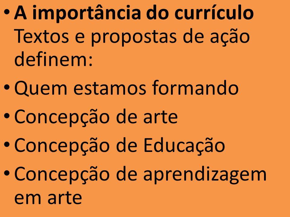 A importância do currículo Textos e propostas de ação definem: