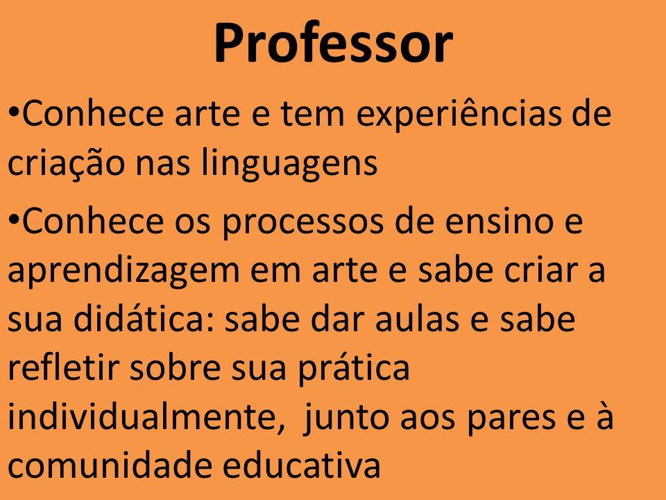 Professor Conhece arte e tem experiências de criação nas linguagens