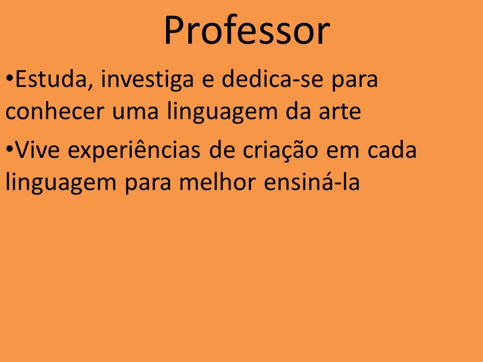 Professor Estuda, investiga e dedica-se para conhecer uma linguagem da arte.