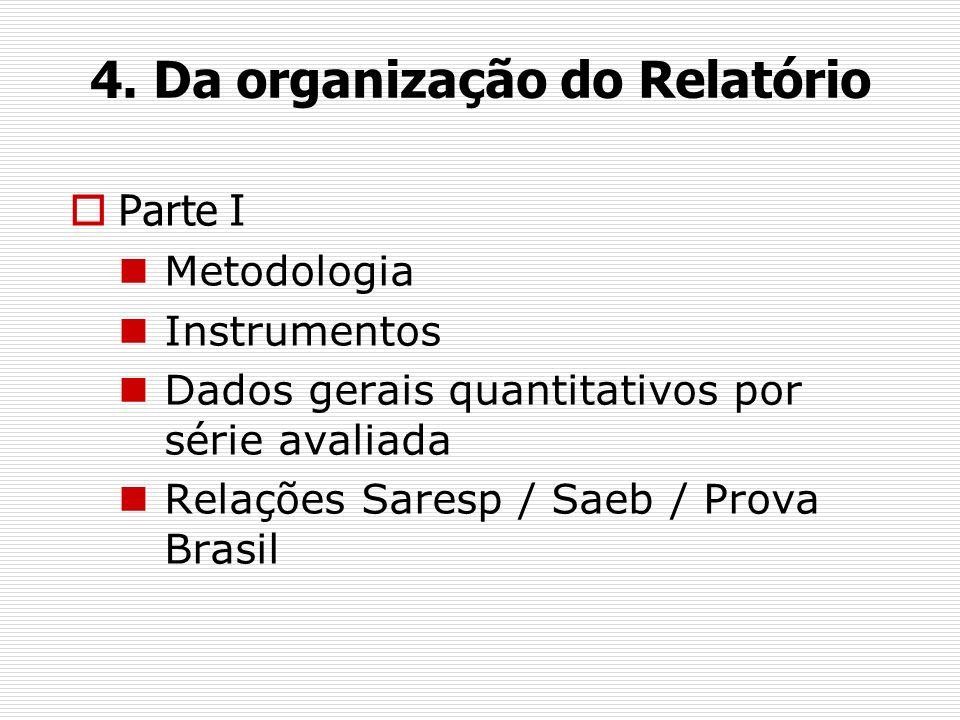 4. Da organização do Relatório