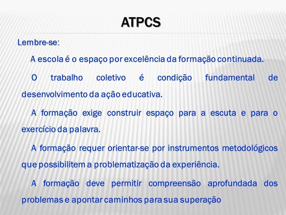 ATPCs Lembre-se: A escola é o espaço por excelência da formação continuada.