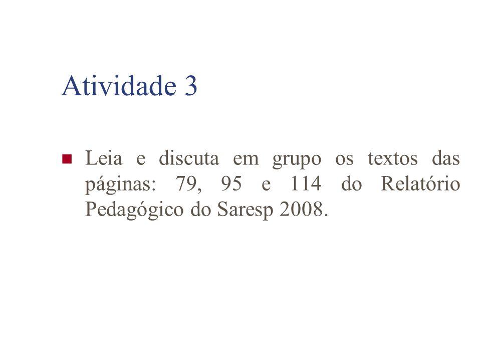Atividade 3 Leia e discuta em grupo os textos das páginas: 79, 95 e 114 do Relatório Pedagógico do Saresp 2008.