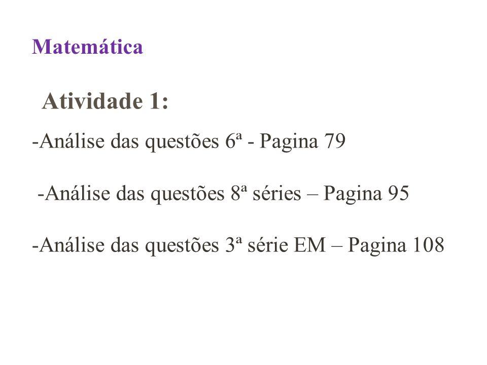 Matemática -Análise das questões 6ª - Pagina 79 -Análise das questões 8ª séries – Pagina 95 -Análise das questões 3ª série EM – Pagina 108.
