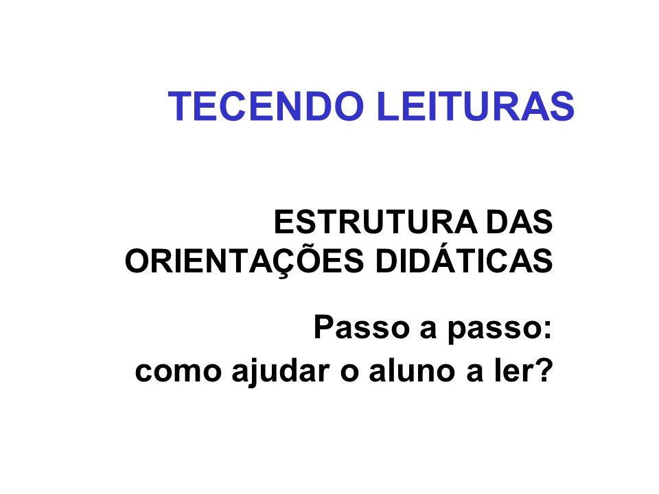 TECENDO LEITURAS ESTRUTURA DAS ORIENTAÇÕES DIDÁTICAS Passo a passo:
