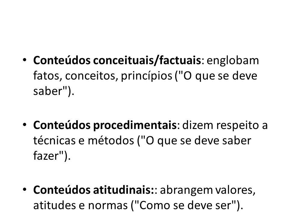 Conteúdos conceituais/factuais: englobam fatos, conceitos, princípios ( O que se deve saber ).