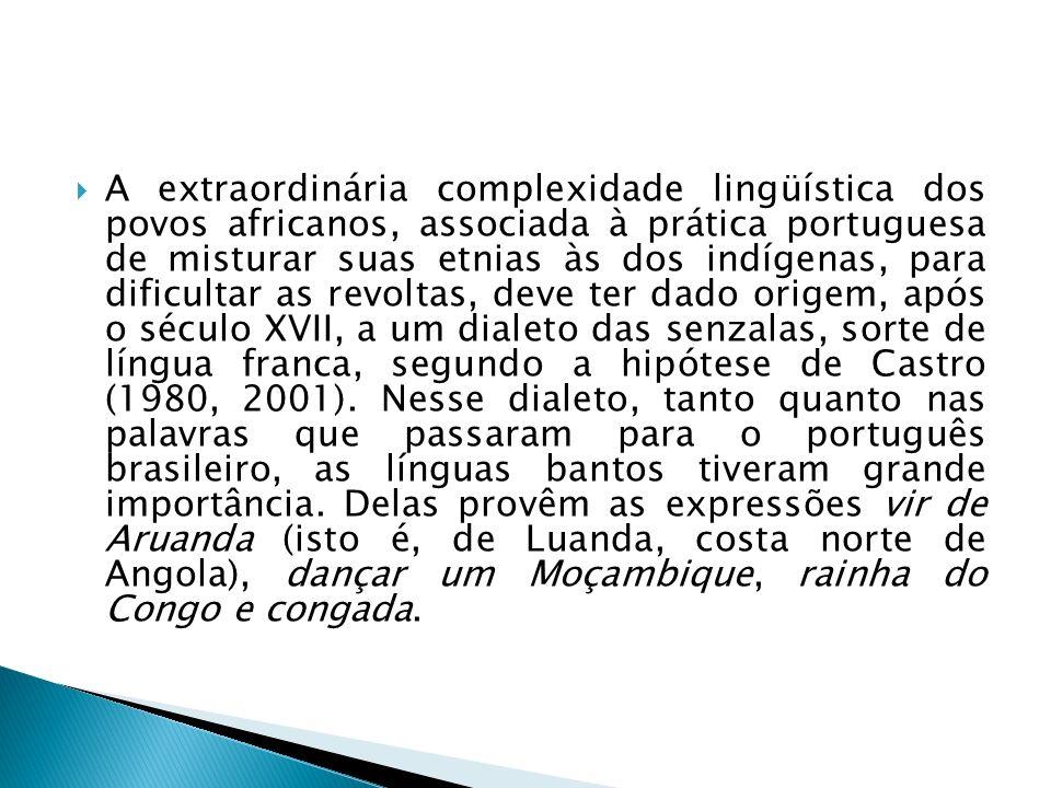 A extraordinária complexidade lingüística dos povos africanos, associada à prática portuguesa de misturar suas etnias às dos indígenas, para dificultar as revoltas, deve ter dado origem, após o século XVII, a um dialeto das senzalas, sorte de língua franca, segundo a hipótese de Castro (1980, 2001).