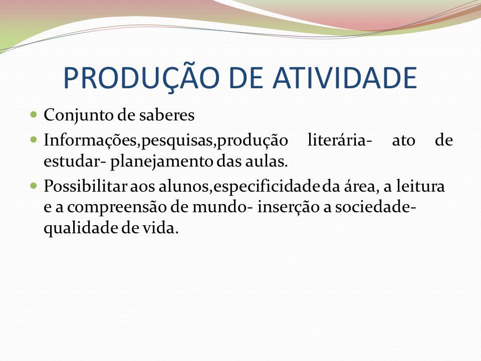 PRODUÇÃO DE ATIVIDADE Conjunto de saberes