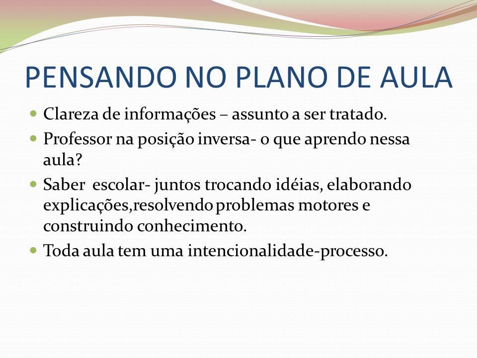 PENSANDO NO PLANO DE AULA