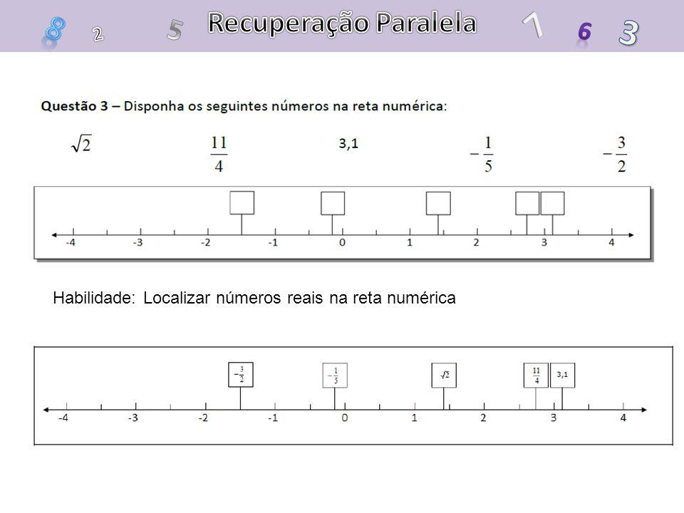 Recuperação Paralela 7 8 5 3 6 2 Habilidade: Localizar números reais na reta numérica