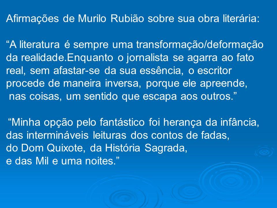 Afirmações de Murilo Rubião sobre sua obra literária: