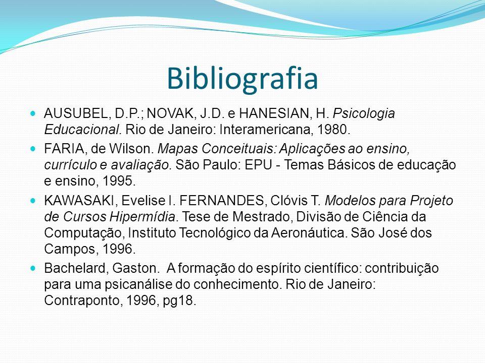 Bibliografia AUSUBEL, D.P.; NOVAK, J.D. e HANESIAN, H. Psicologia Educacional. Rio de Janeiro: Interamericana, 1980.